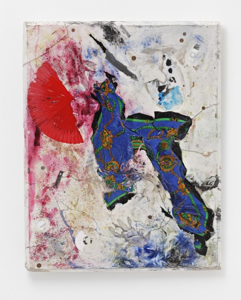 Artificial Silk, 2015, fan, scarf, knife, painter's palett, ipod, coins, art handling gloves, plaster, pigment, resin, 122 x 97 x 8,5 cm