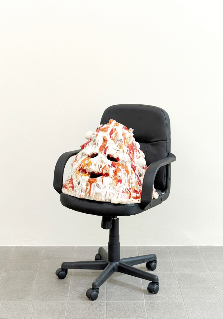 Sending Out For You 2014  ceramic, office chair 50 x 50 x 80 cm