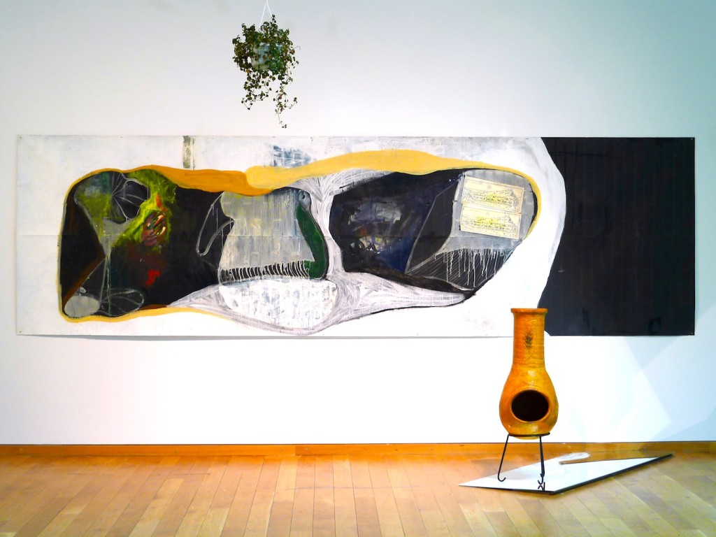Erstes Auftreten, 2013, oil and paper on wallpaper, 106 x 358 cm