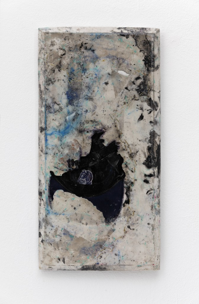 """Duke"" 2015, Duke cap, chain, glass, lichen, pencil, plaster, pigment, resin, 31 x 61 x 3 cm"