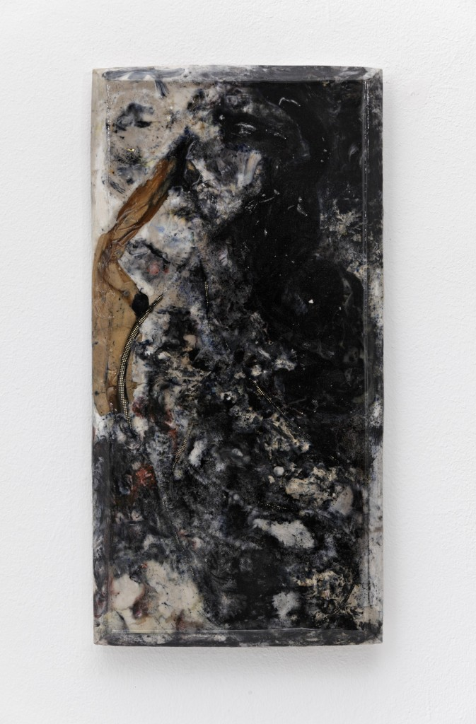 """Falke"" 2015, panties, pantyhose, cheekie necklace, magnetic bracelet, plaster, pigment, resin, 31 x 61 x 3 cm"