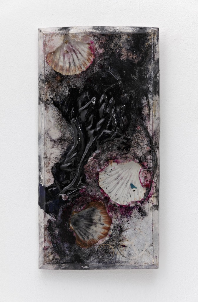 """Mercedes"" 2015, sea shells, silk boxer shorts, mercedes hood ornaments, peace sign, earrings, leather string, ceramic, plaster, pigment, resin, 31 x 61 x 3 cm"