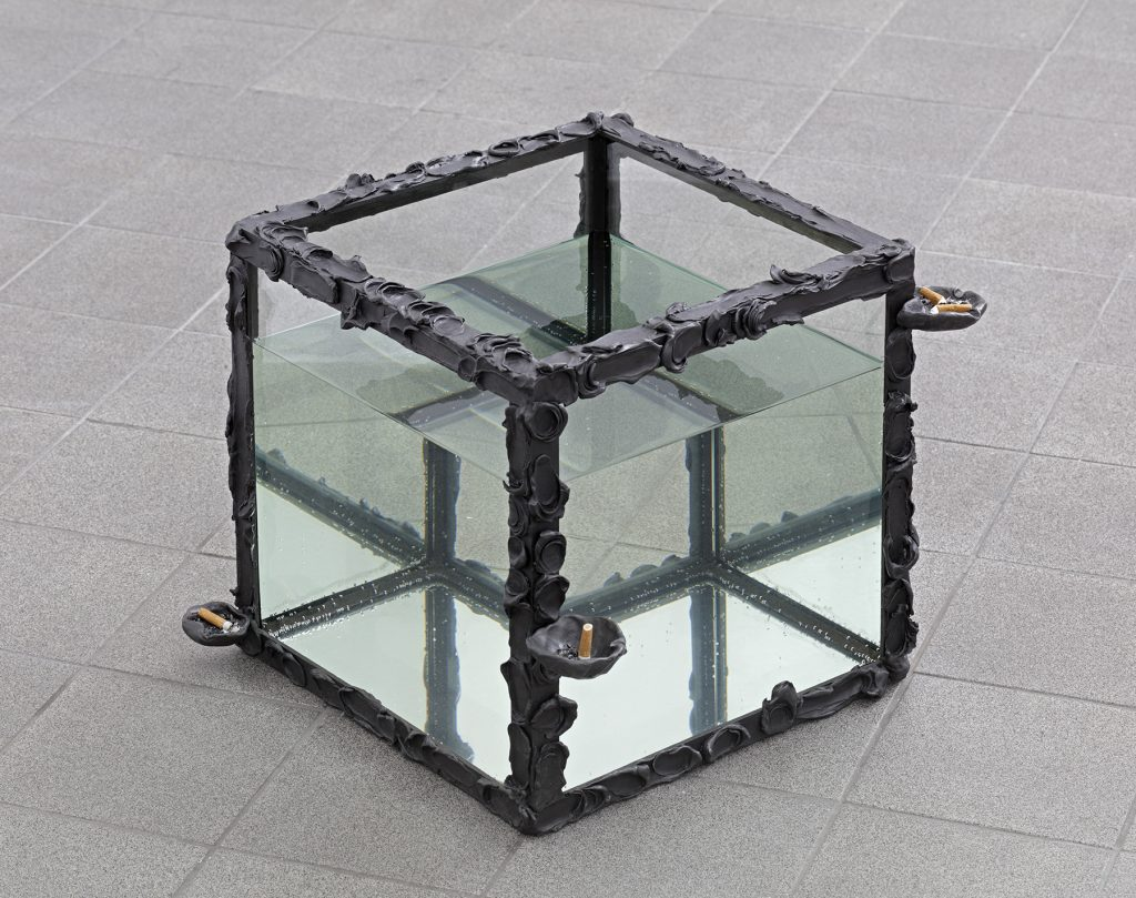Angelika Loderer  Untitled (Aschenbecher II) 2015  aluminum, glass, water, cigarettes  46 × 46 × 38 cm